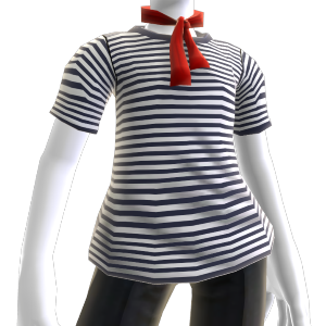 Striped Shirt with Red Scarf