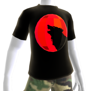 Red Chrome Wolf Black Shirt