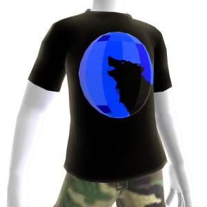 Blue Chrome Wolf Black Shirt