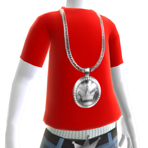 Platinum Crown Chain on Red Tee