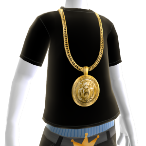 Gold Lion Chain on Black Tee