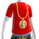 Gold Dollar Sign Chain on Red Tee