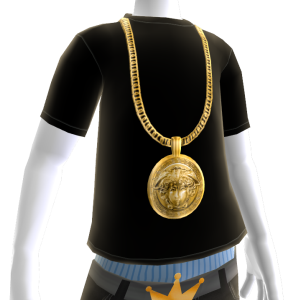 Gold Medusa Chain on Black Tee