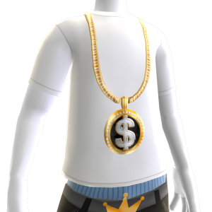 Gold Black Dollar Sign Chain on White