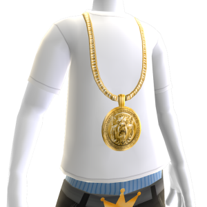 Gold Lion Chain on White Tee