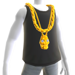 Gold Link Chain and Skull Pendant