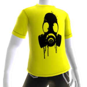 Black Gas Mask Yellow Tee