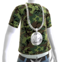 Platinum Crown Chain on Camo Tee