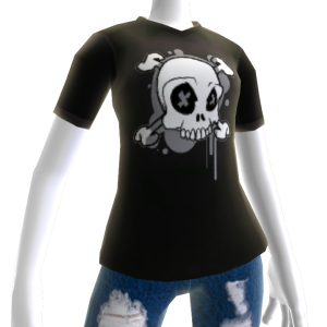 Black Grunge Skull Print Tee