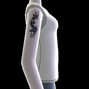 Tatuaje de mariposa y camisa, blanco