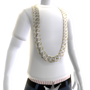 Diamond Gold Cuban Link (White Tee)