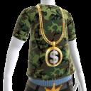 Gold Black Dollar Sign Chain on Camo