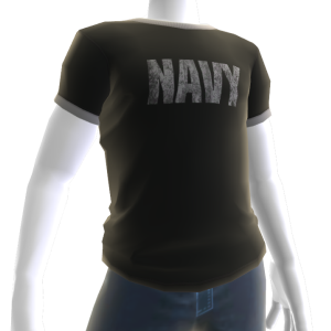 Navy Ringer Tee - Black