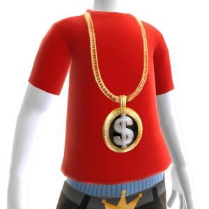 Gold Black Dollar Sign Chain on Red