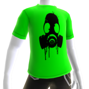 Black Gas Mask Green Tee
