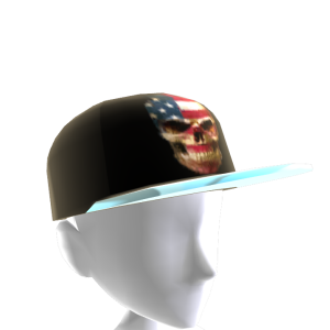 USA Skull Black Chrome Silver