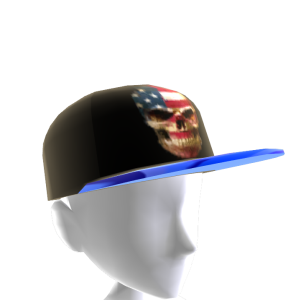 USA Skull Black Chrome Blue