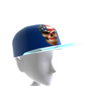 USA Skull Blue Chrome Silver