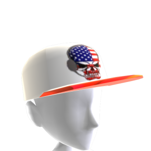 USA Gamer Skull White Chrome Red
