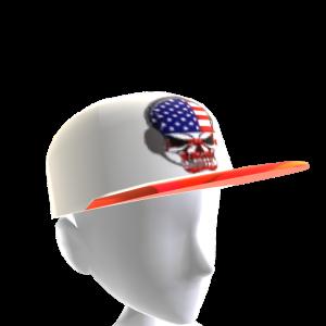 USA Gamer Skull White Chrome Red