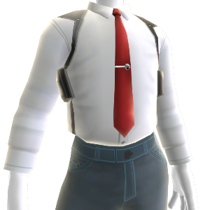 White Shirt with Red Tie