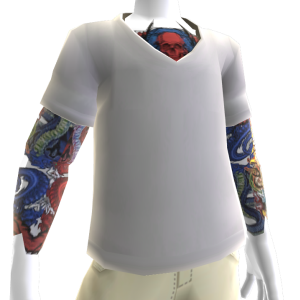 White V-Neck With Tattoos