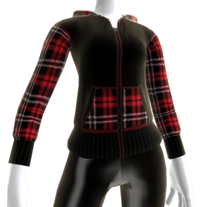 Plaid Red and Black Hoodie