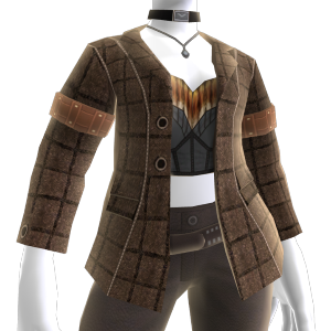 Braune Jacke und Bustier