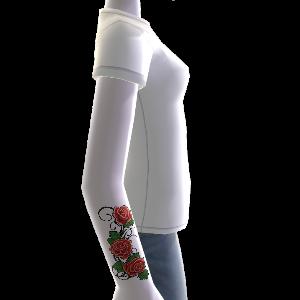 Tatuaje de flores y camiseta, blanco