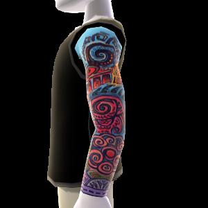 Tatuajes de manga izquierda y camisa, negro