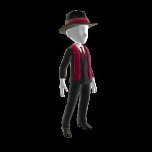 Traje negro, pañuelo y sombrero