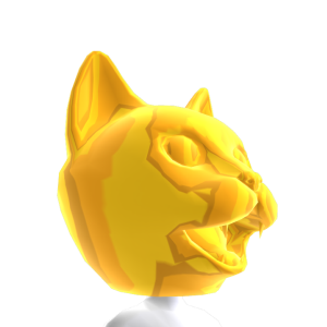 Epic Golden Cat Head
