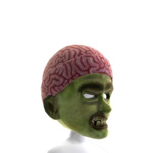 Zombie Mask with Brain Skullcap Hat
