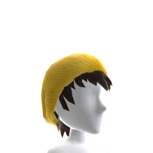 Gold Beanie w Shaggy Hair