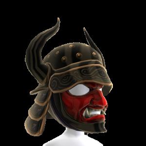 Casco de samurái negro con cuernos & máscara