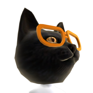 Blk Cat Head Org Glasses