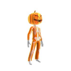 Blk Skeleton Suit Org Chrm Pumpkin M