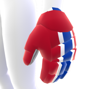 Cinnabar with White and Blue Trim Hockey Gloves