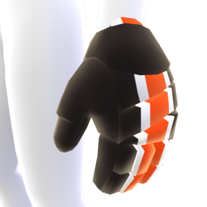 Black with White and Orange Trim Hockey Gloves 