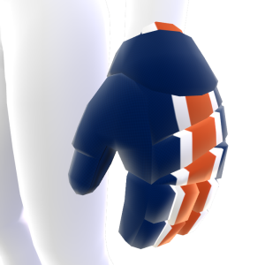 Navy Blue with White and Orange Trim Hockey Gloves