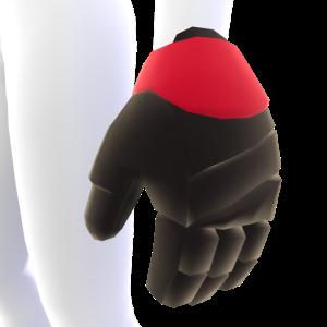 Black with Cinnabar Trim Hockey Gloves
