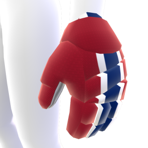 Brick Red with White and Blue Trim Hockey Gloves