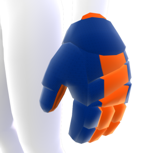 Navy Blue with Orange Trim Hockey Gloves