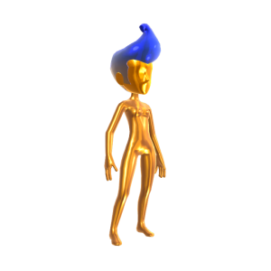 Gold Body Suit - Blue Hair