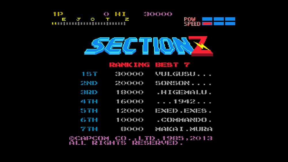 Image from CAPCOM ARCADE CABINET : SECTION Z